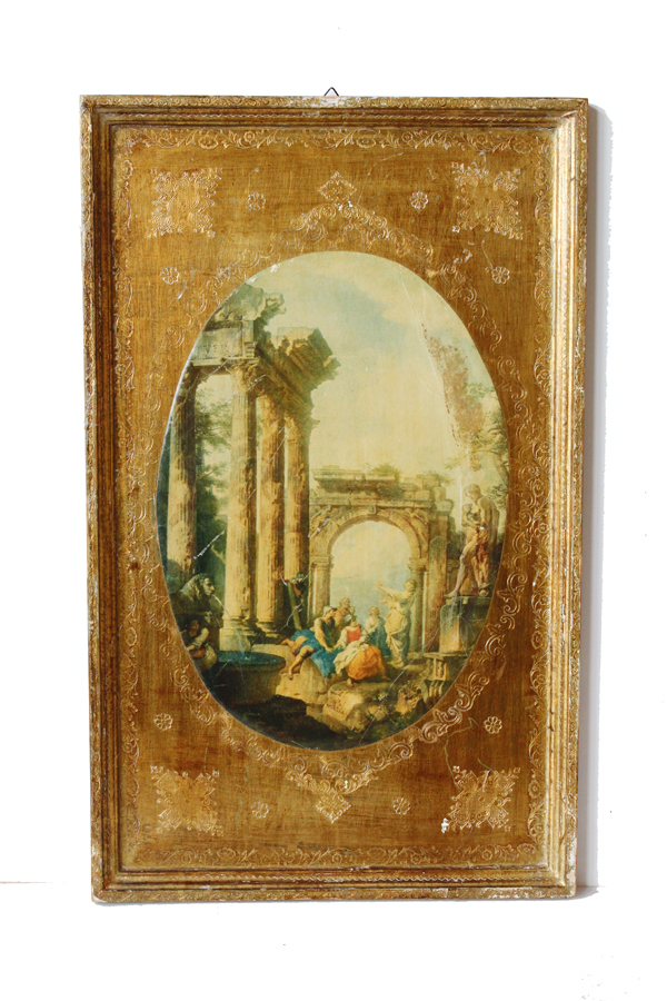 Pair Italian Florentine Framed Wall Hanging Pictures-