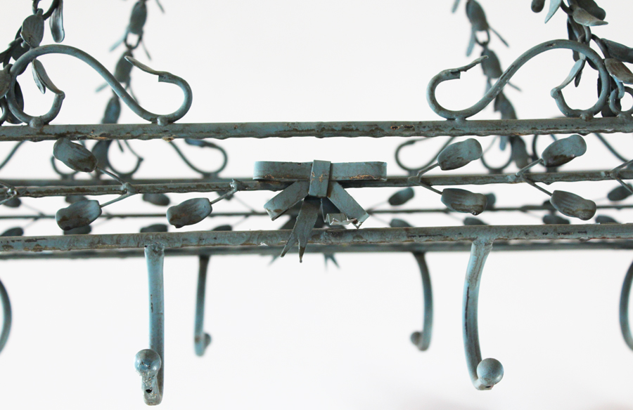 Rare Antique Early 1900s Italian Tole Pot Rack-