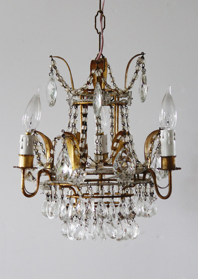 Incredible Italian Tole Macaroni Beaded Rare Crown Chandelier Antique-
