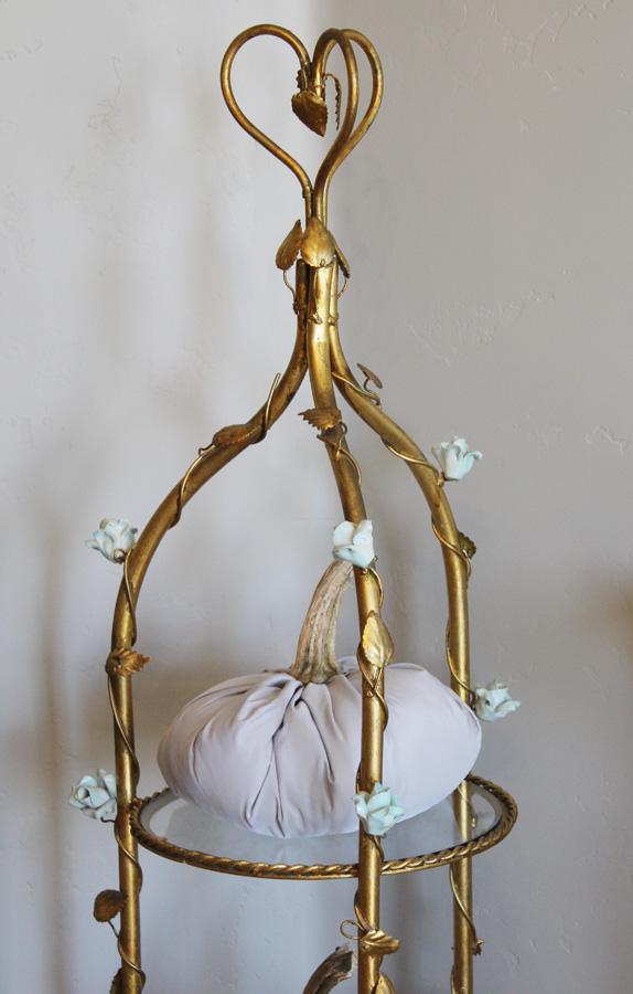 Antique Italian Tole Porcelain Rose Etegere Stand-antique, lighting, chandelier, wall sconces, beaded, French, vintage, shabby chic, beaded sconce, Italian, pendant, European, sconce, etegere, stand, shelf, porcelain roses, tole