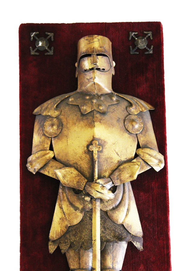 Antique Italian Tole Gilt Knights Armor Wall Hanging-