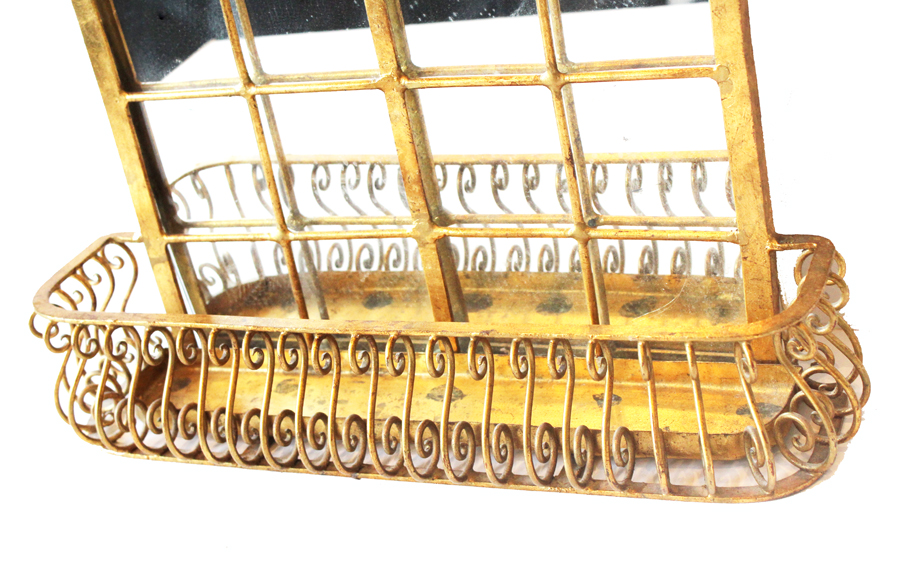 Antique Italian Tole Gilt Mirror Planter Curio Shelf-
