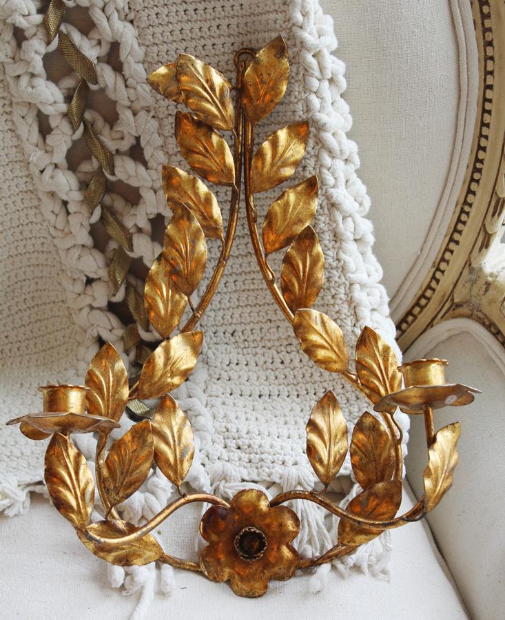 Pair Vintage Italian Tole Gilt Wall Sconces Gorgeous-