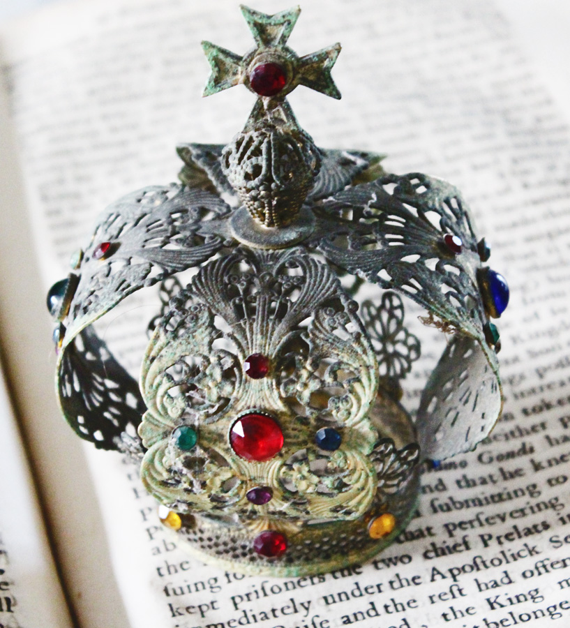 Antique French Jeweled Crown Wonderful Patina-