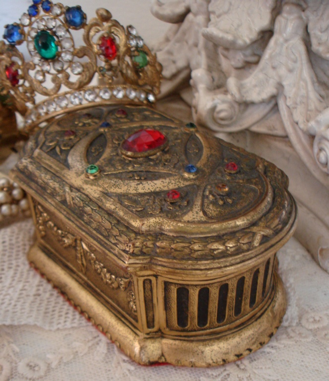 ANTIQUE FRENCH Jeweled Victorian CASKET Jewel Box-