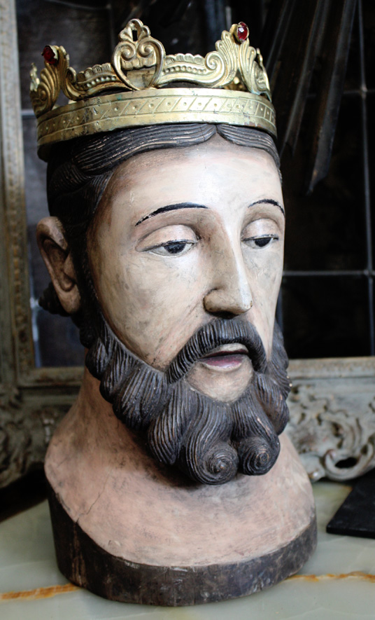 Carved Wood Antique  Head of the King w/Orig Antique Jeweled Crown-