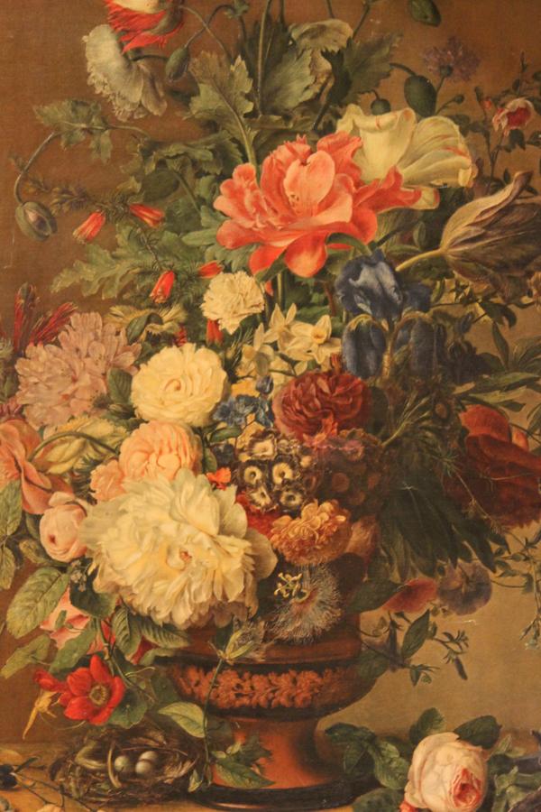 Vintage Xlrg Canvas Floral Hand Touched Litho Original Frame-