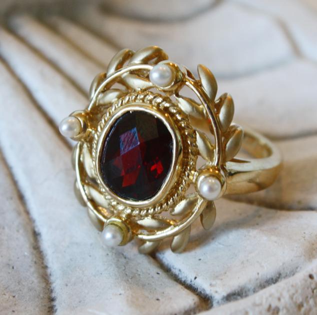 Estate Laurel Wreath Garnet & Pearls Neoclassical Ring-