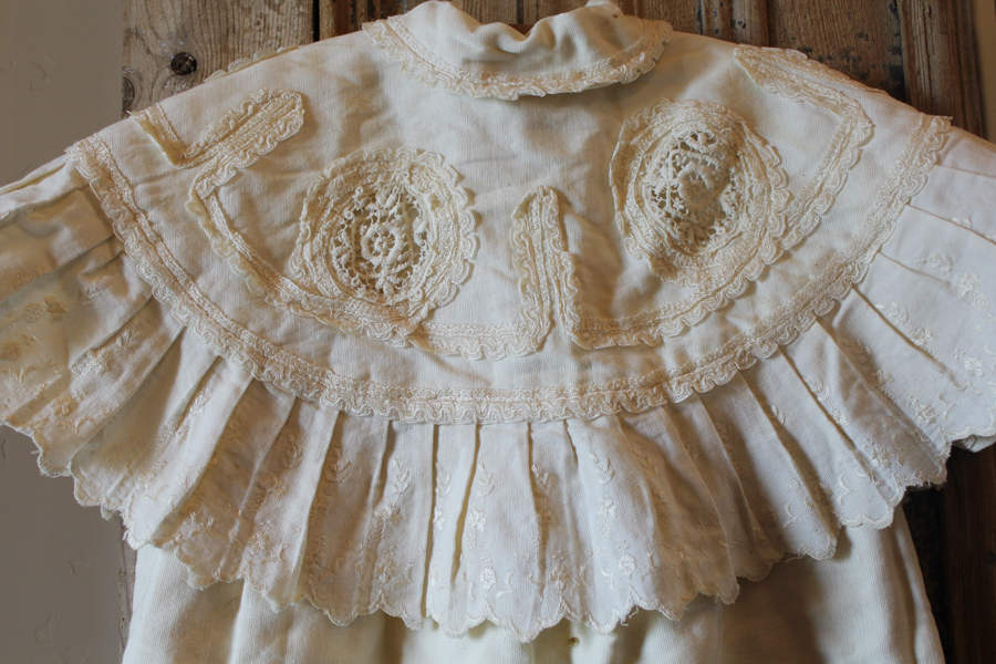 Superb Antique French Christening Baby OverCoat Gown-