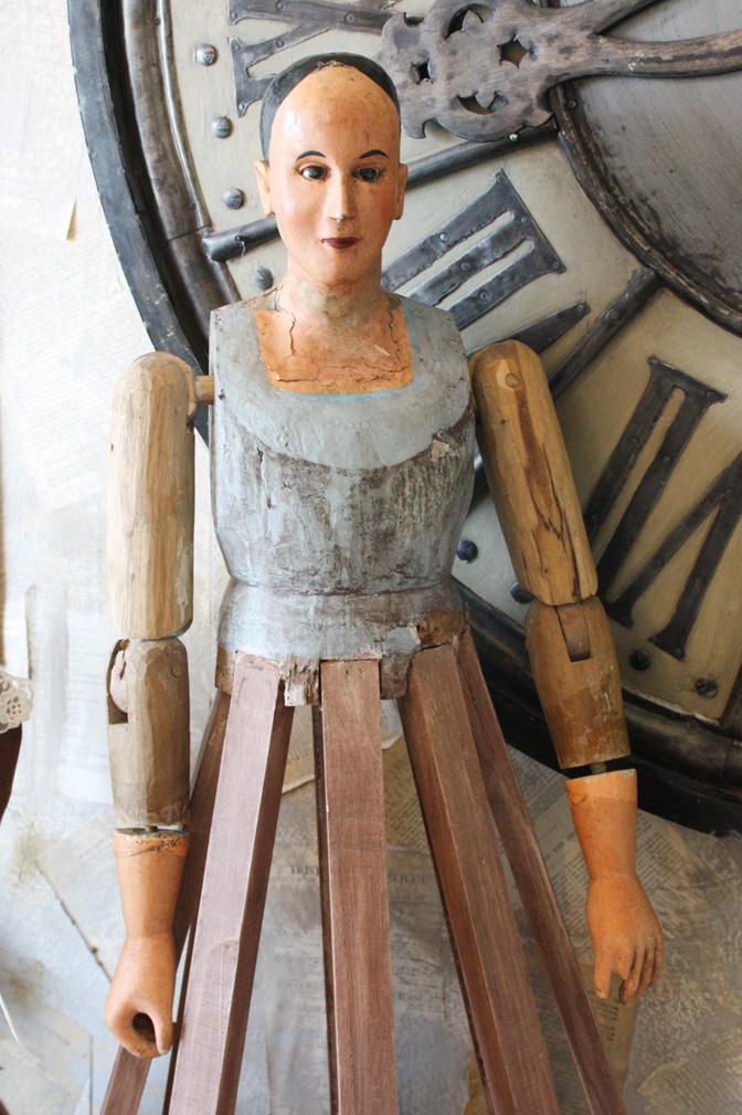 19th C. Blue Santos Cage Doll  Bastidor Central American-