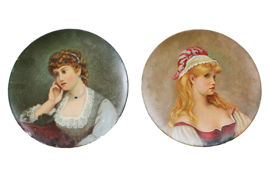 Two Antique Oil Paintings of Young Maidens Beautiful-