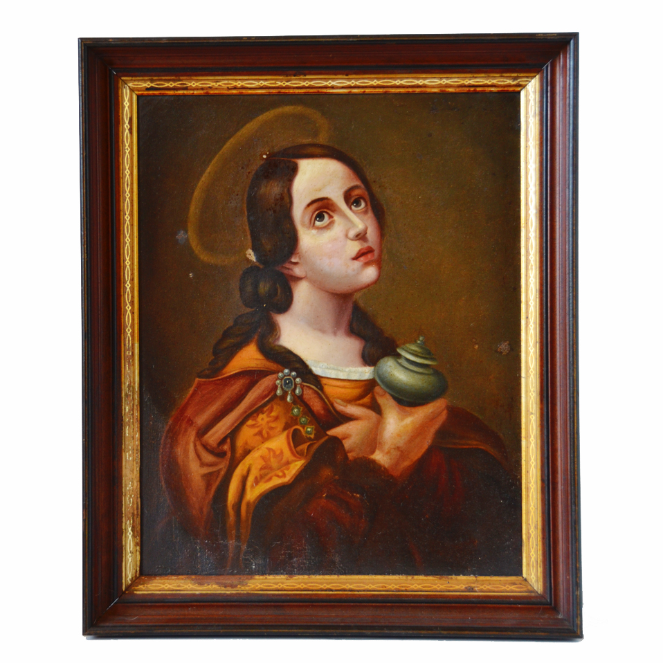 Antique Late 1800s Mary Magdalene Painting Incredible-