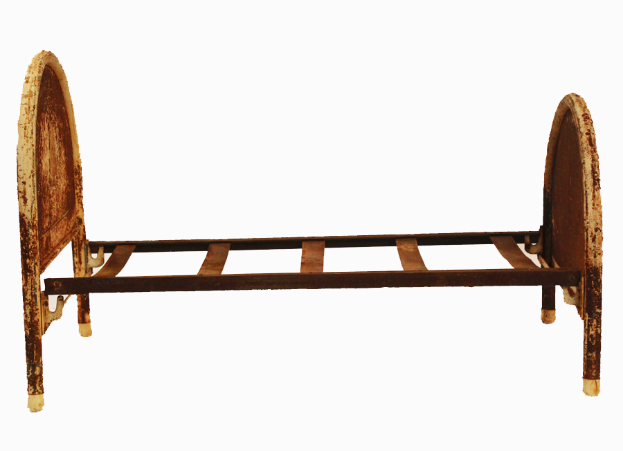 Antique Metal Childs Toy Doll Bed Frame-