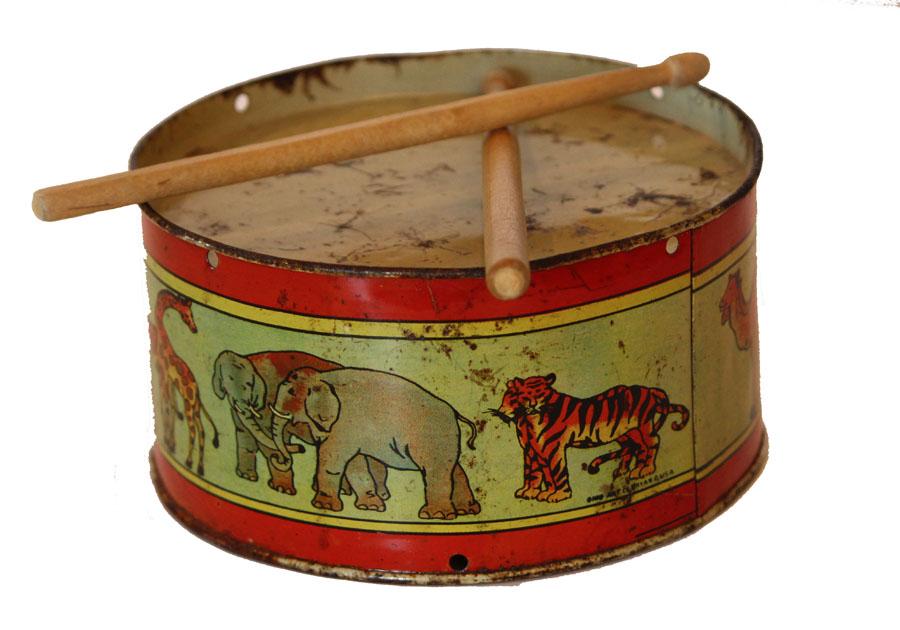 Antique Childs Toy Antique Metal Drum Rare Noahs Ark Graphics-