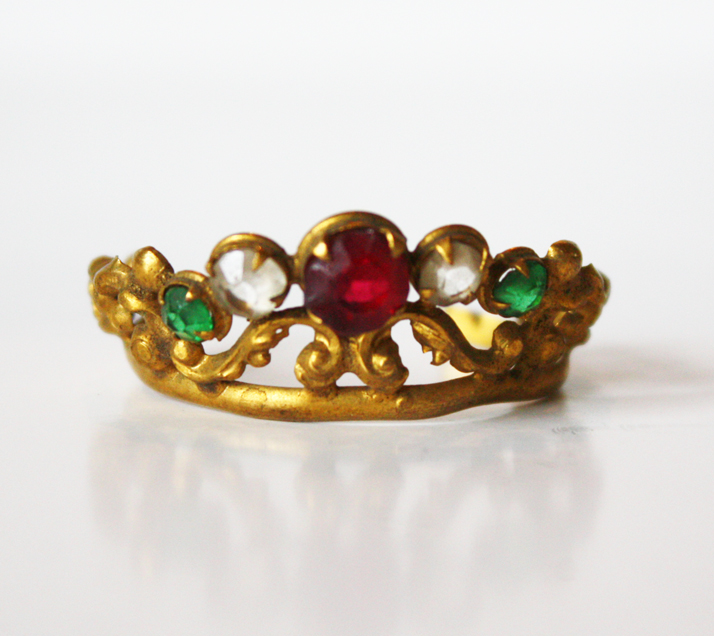 French Jeweled Antique Santos Crown 1800s-