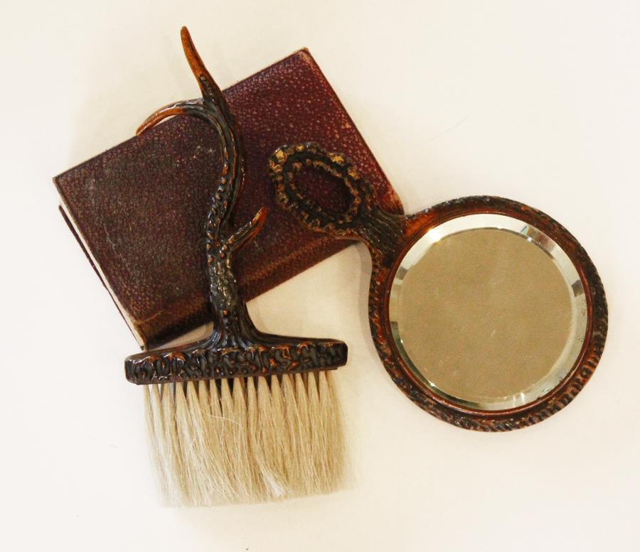Antique Stag Victorian Beveled Hand Mirror & Brush-