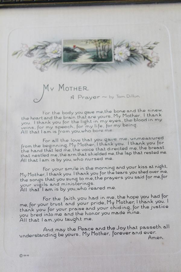 Antique Original Frame Victorian Mother Poem Print-
