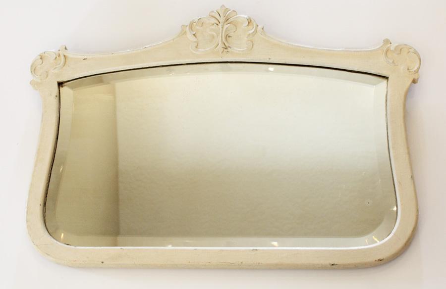 Antique Original Paint Oak Beveled Mirror-