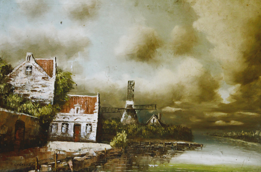 Antique Beautiful Landscape Painting with Windmill-