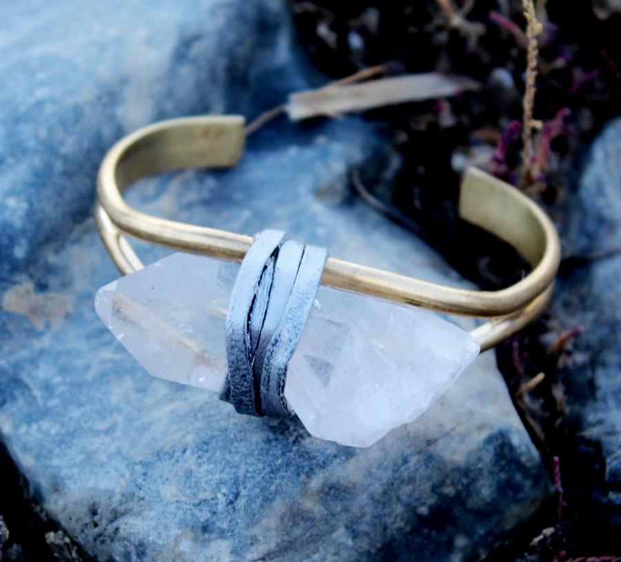 Quartz Crystal Bracelet-Rock It Gypsy Designs-quartz, crystal, bracelet, necklace, earrings, rock, stone, jewelry, vintage