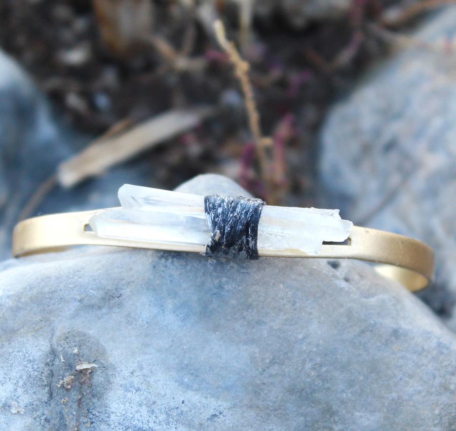 Rock Cystal Quartz Cuff Bracelet- Rock it Gypsy Designs-Rock Crystal, Quartz, Healing, Gypsy, Boho, Bohemian, Jewelry, Vintage, Chic