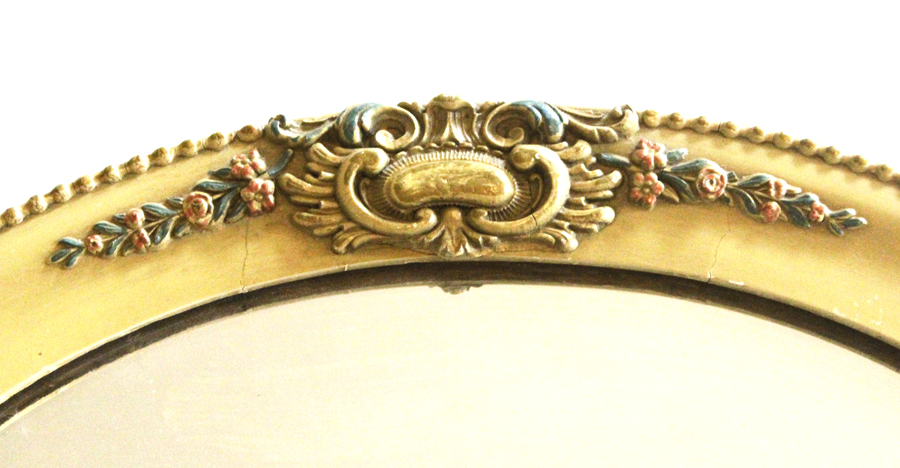 Antique Hand Painted French Barbola Oval Mirror-