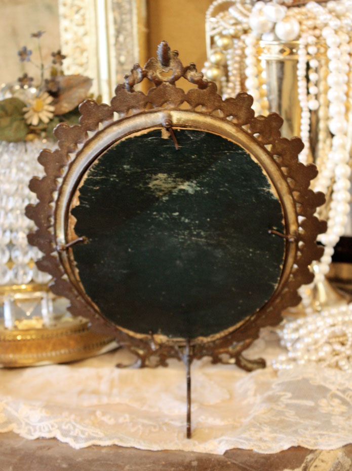 Late 1800s Antique Beveled Table Top Mirror-