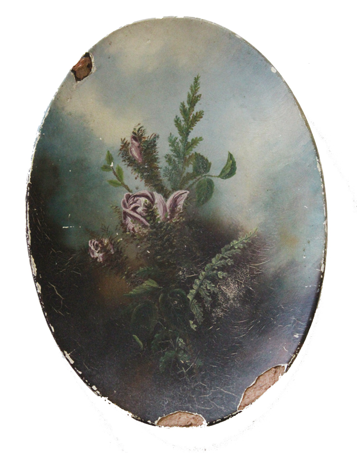 Antique Victorian Floral Rose Sunday Oil Painting-