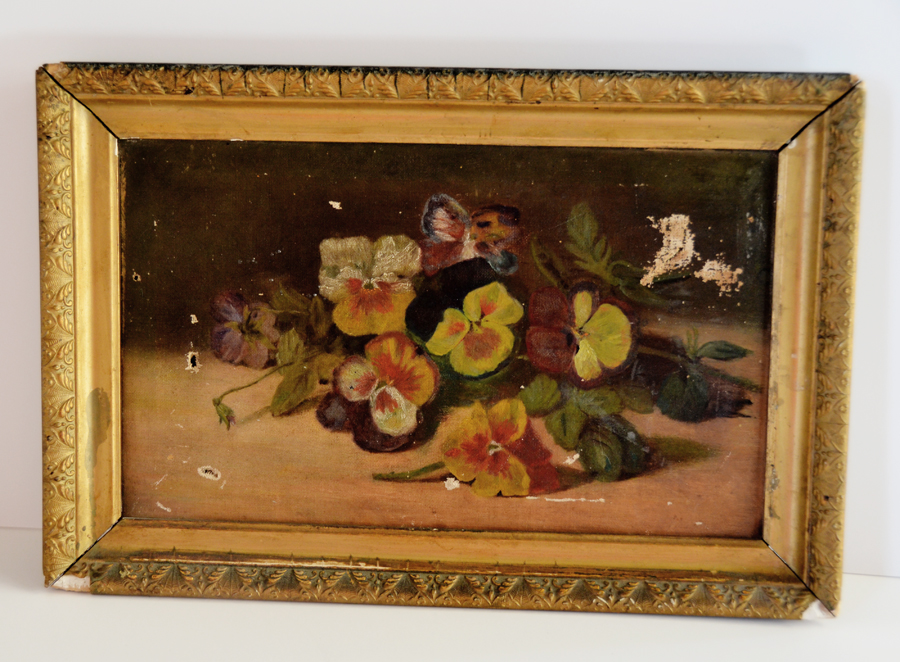 Antique Victorian Pansy Oil Painting Original Frame 1800s-