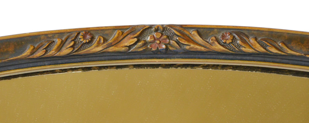 Antique French Barbola Wall Mirror Painted Flowers-