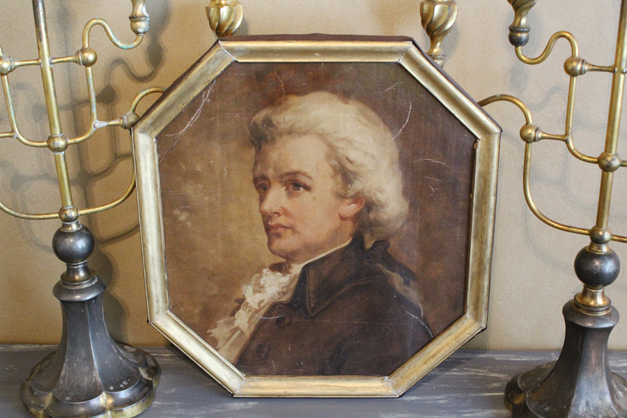 Antique Figural Nobleman Framed Painting-