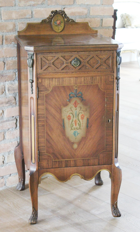Antique Pair French Music/Night Stands Gorgeous Bronze & Handpainted Details-