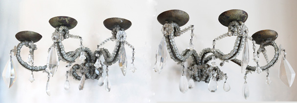 Pair Antique Macaronia Beaded Three Arm Candleabra Sconces-antique, lighting, chandelier, wall sconces, beaded, French, vintage, shabby chic, beaded sconce, Italian, pendant, European, sconce