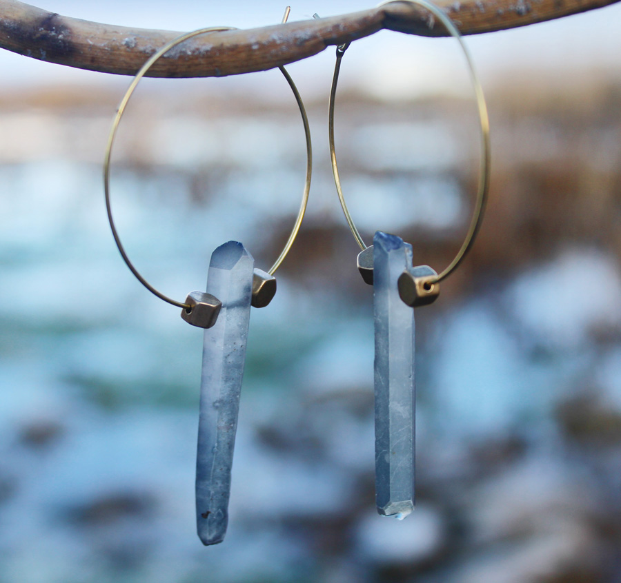 Rock Quartz Crystal Earrings- Rock It Gypsy Designs-Rock Crystal, Quartz, Earrings, One of a kind