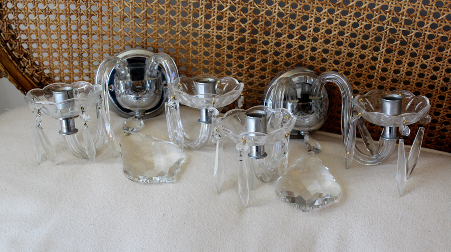 Pair Early 1930s Crystal Wall Sconces Chrome Base-
