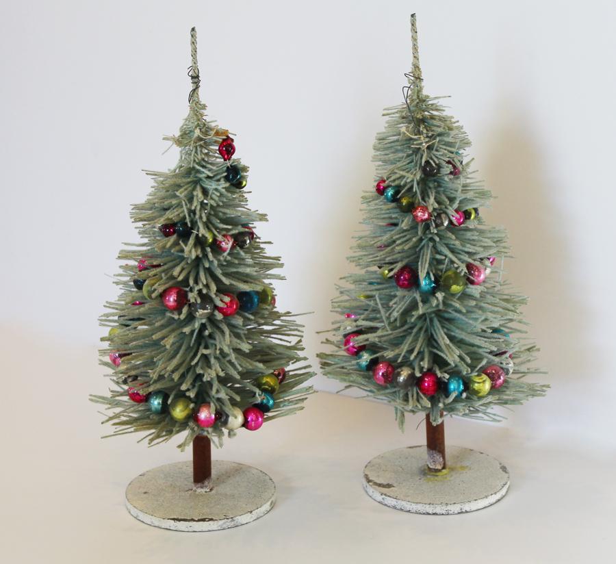 The Best! Antique Pair Flocked Bottle Brush Christmas Trees-