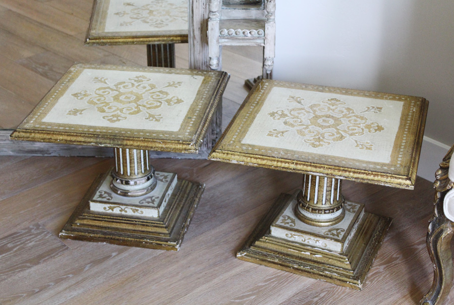Rare Pair Italian Tole Florentine Carved Wood Column Endtables-