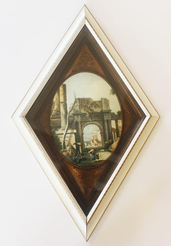 Pair Framed Vintage Landscape European Prints-antique, painting, print, landscape, vintage, framed, Italy, france