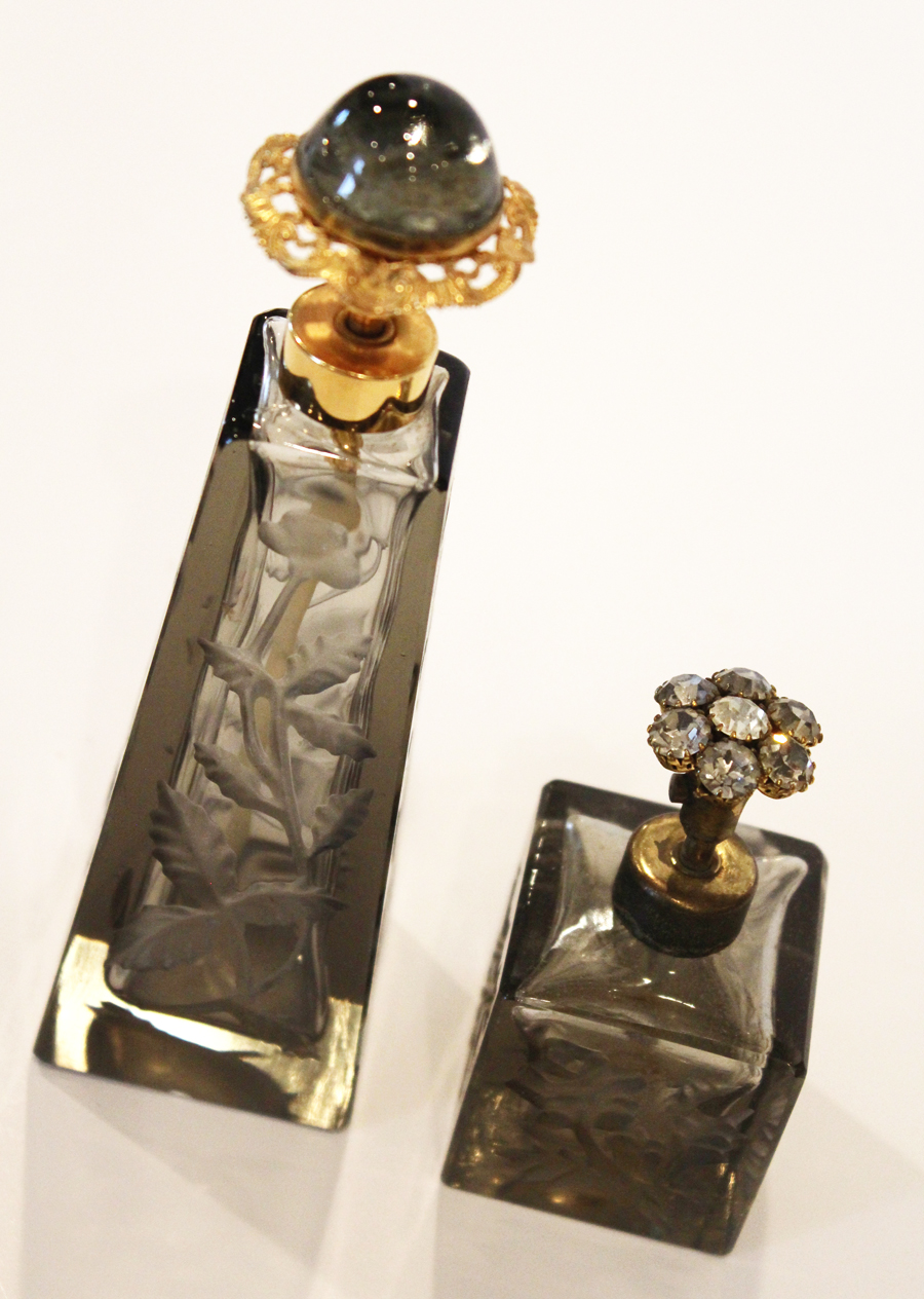 Pair Antique Grey Glass Etched Jeweled Perfume Bottles-