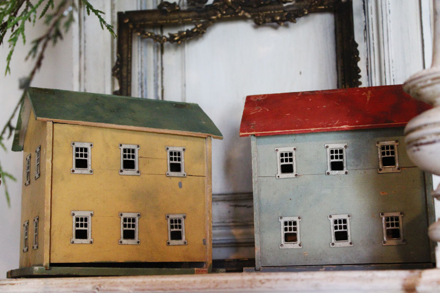 Pair Rare Antique English Cottage Houses Incredible-