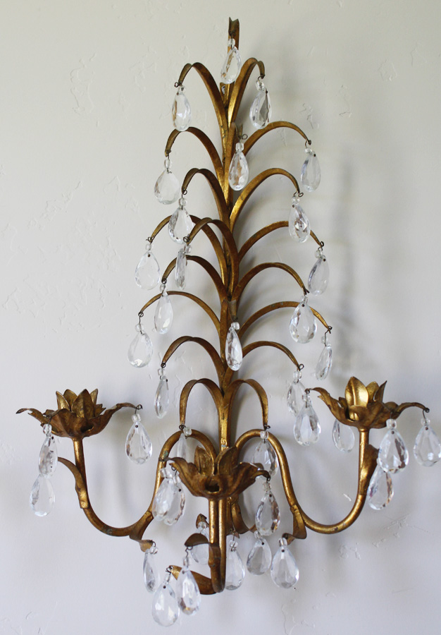 Pair Italian Tole Crystal Prisms Wall Sconces 3 Arm-
