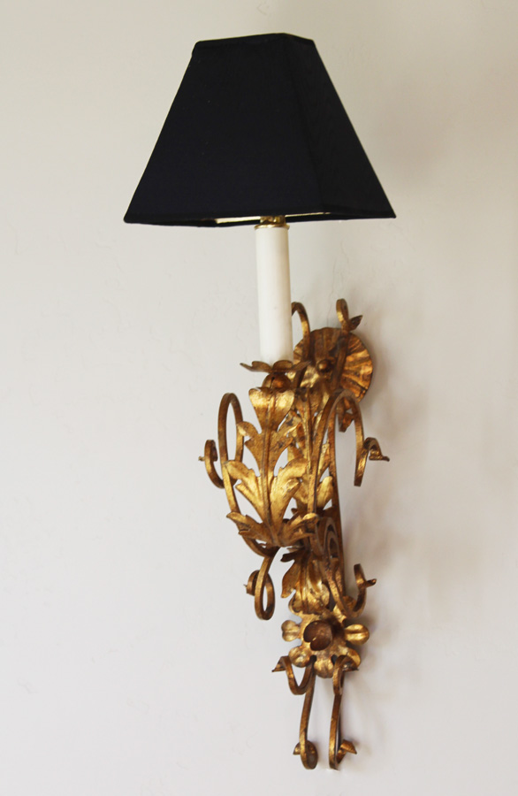 Italian Tole Pair Gilt Wall Sconces-antique, lighting, chandelier, wall sconces, beaded, French, vintage, shabby chic, beaded sconce, Italian, pendant, European, sconce