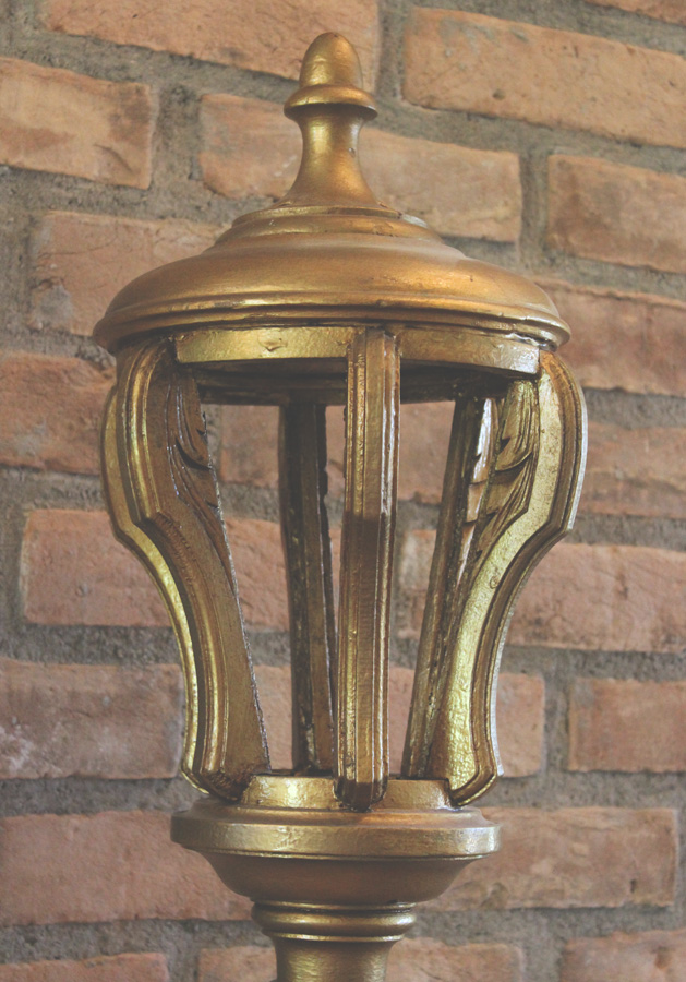 Antique Pair French Tole Wood Torchiere Floor Lamps-