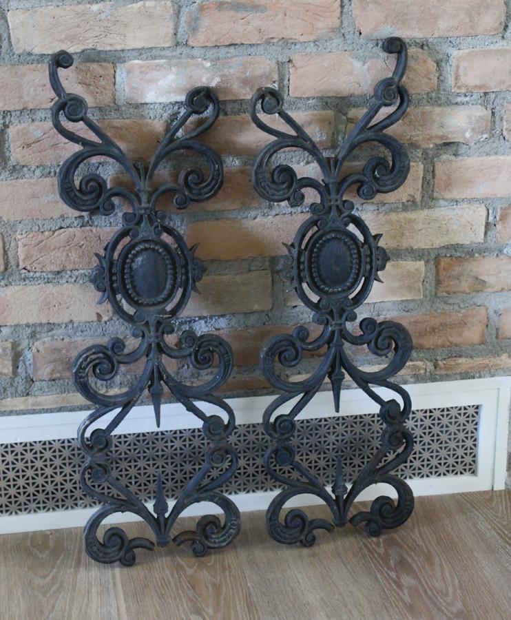 Pair Antique 1800s Wrought Iron Decorative Fragments-