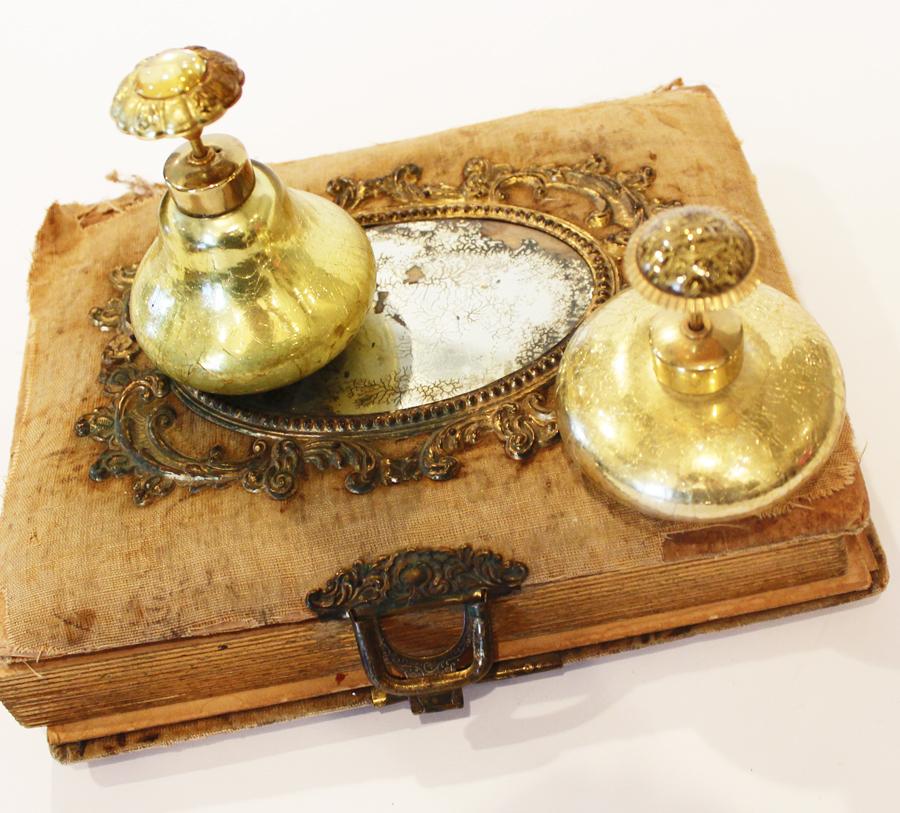 Pair Antique Jeweled Gold Boudoir Crystal Perfume Bottles-