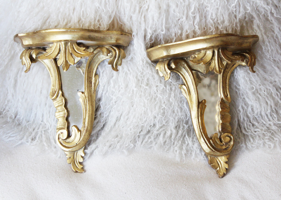 Antique Pair Italian Florentine Mirrored Sconce Shelves-