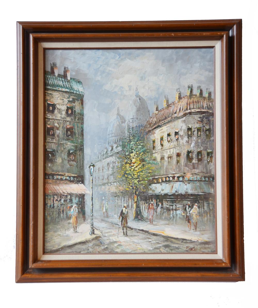 Antique Signed Street Scene Painting of Paris-