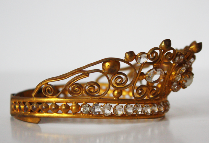 Incredible Pearls & Jewels French Antique Saint Crown 1800s-