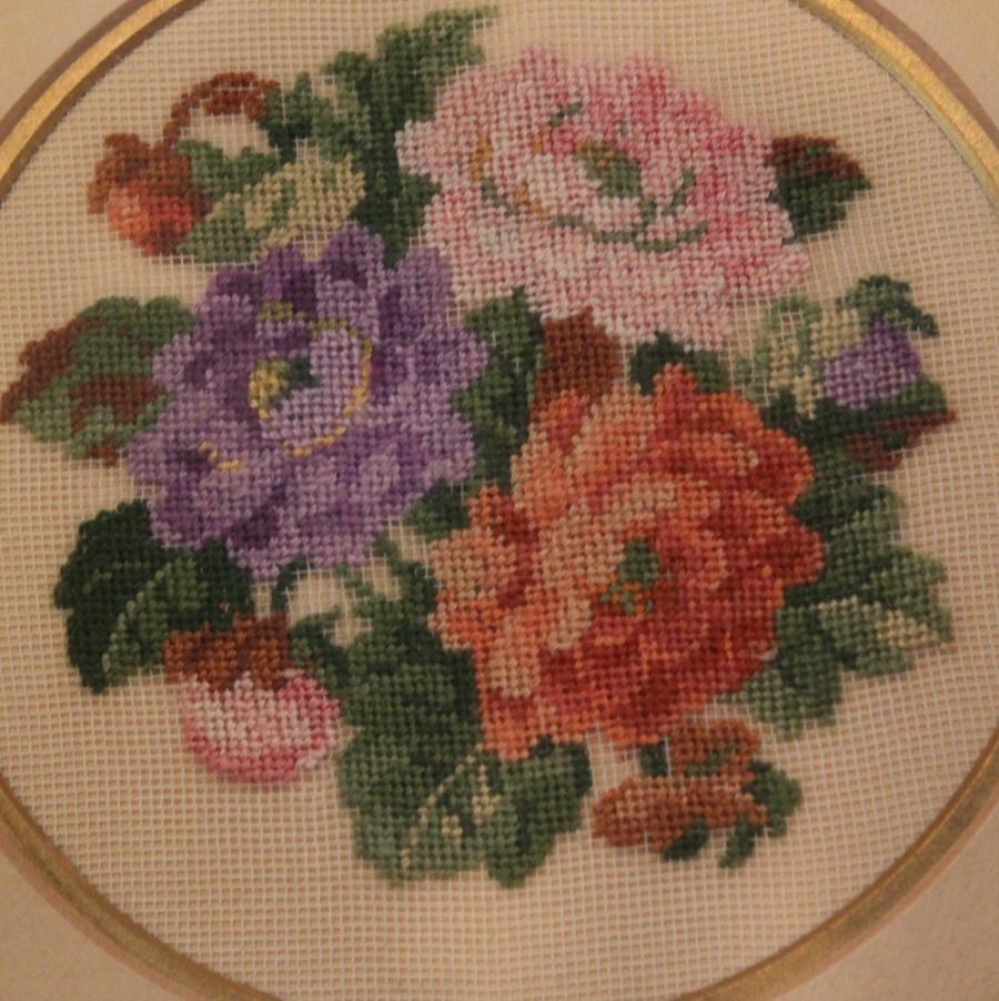 Antique French Floral Petit Point Original Frame-