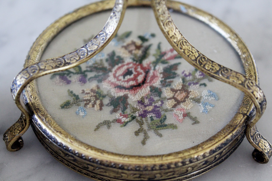 Antique French Petit Point Candlestick Holders Beautiful-